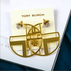 Tory Burch Gold Geometric Logo Hoop Earring 1.7""